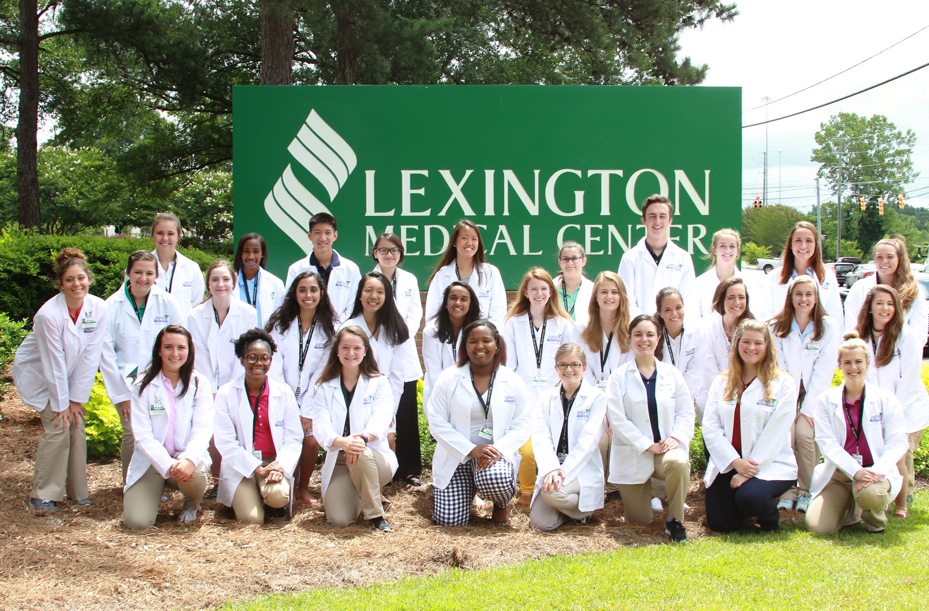 Students in front of Lexington Medical Center sign