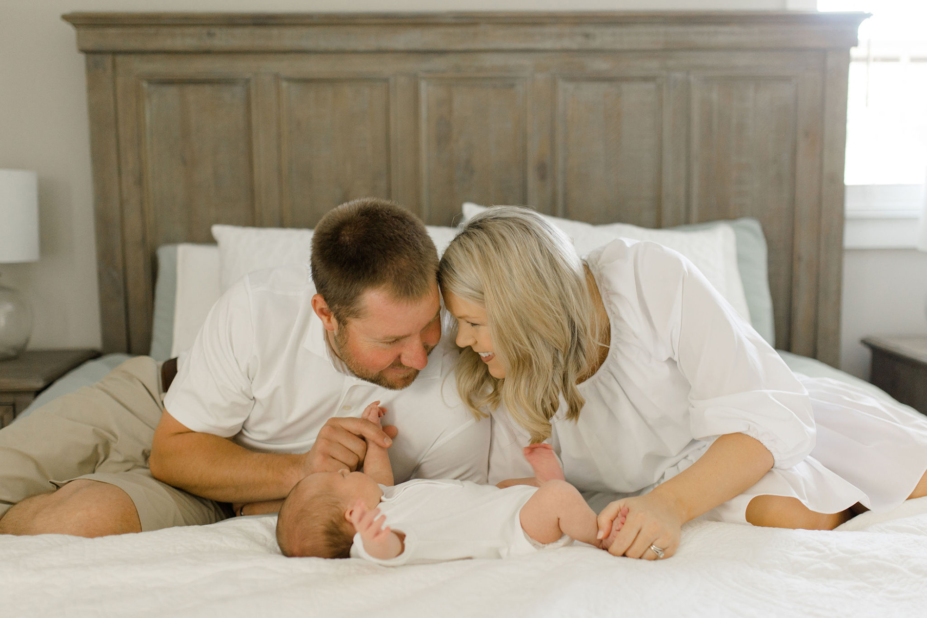 Asbill family at home with baby