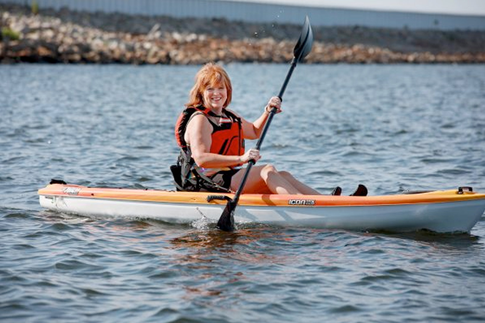 Patient Kate Adkins, kayaking on Lake Murray