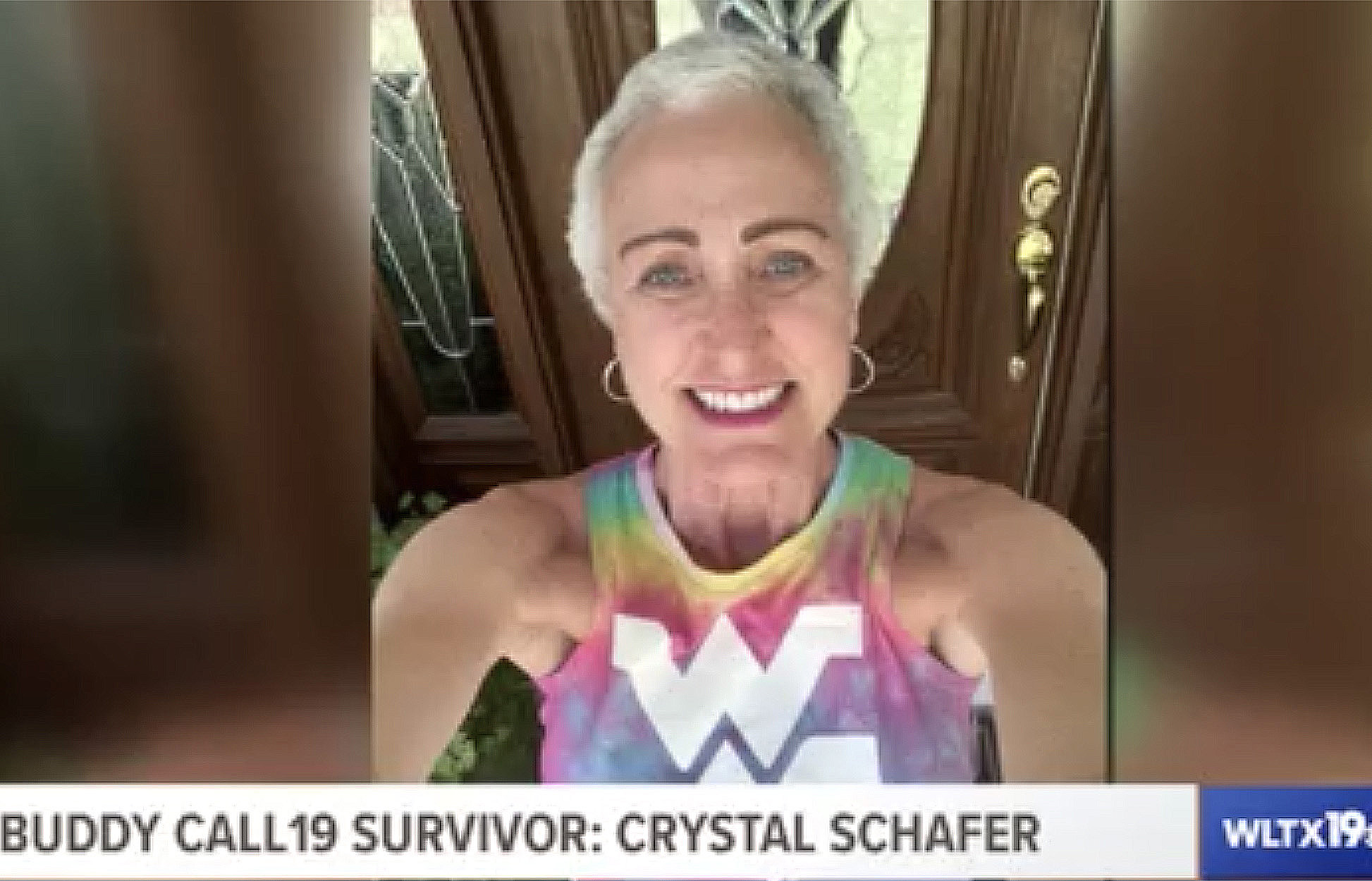 Crystal Schafer on front porch