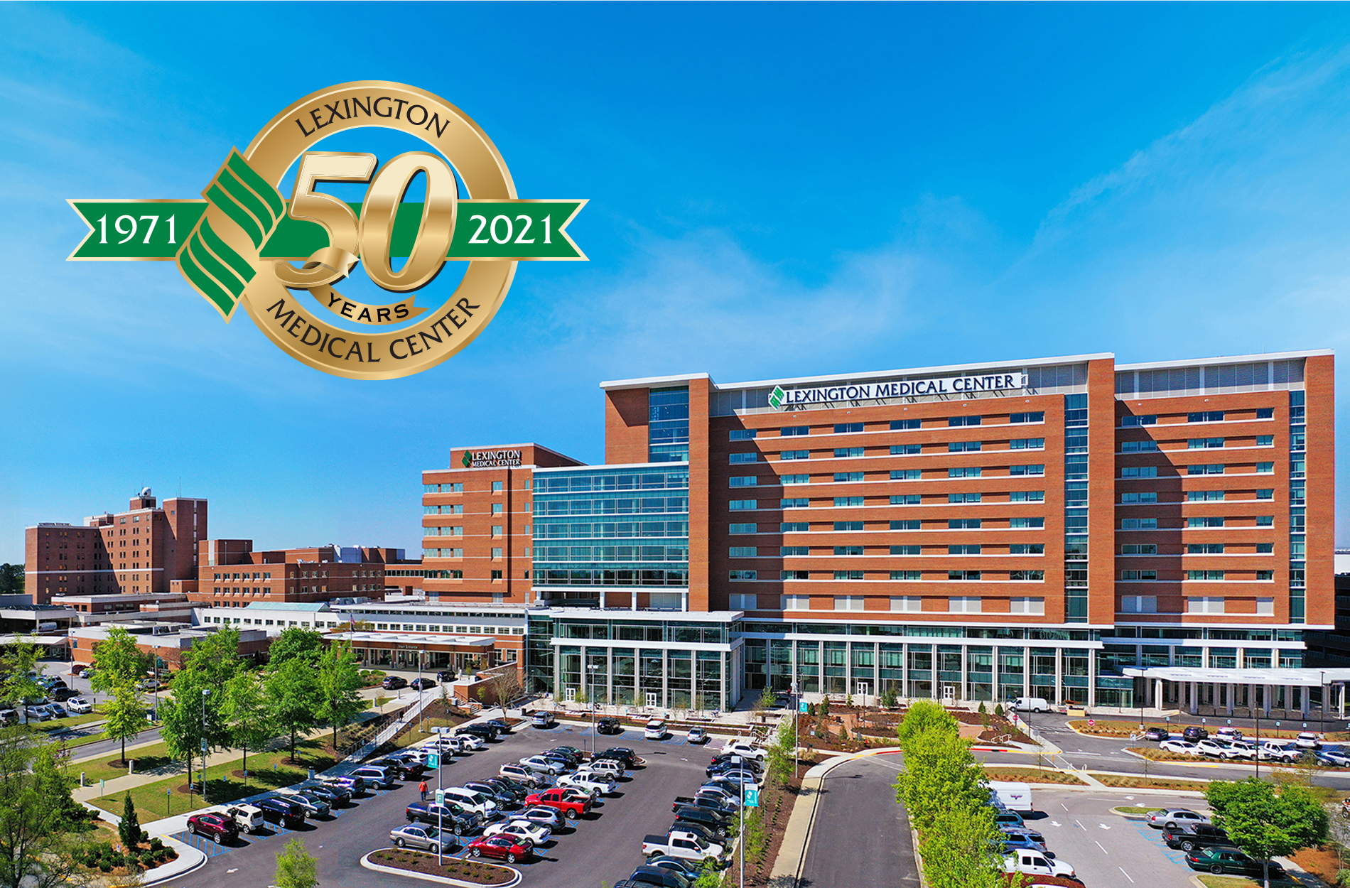 Aerial photo of Lexington Medical Center along with 50th anniversary logo