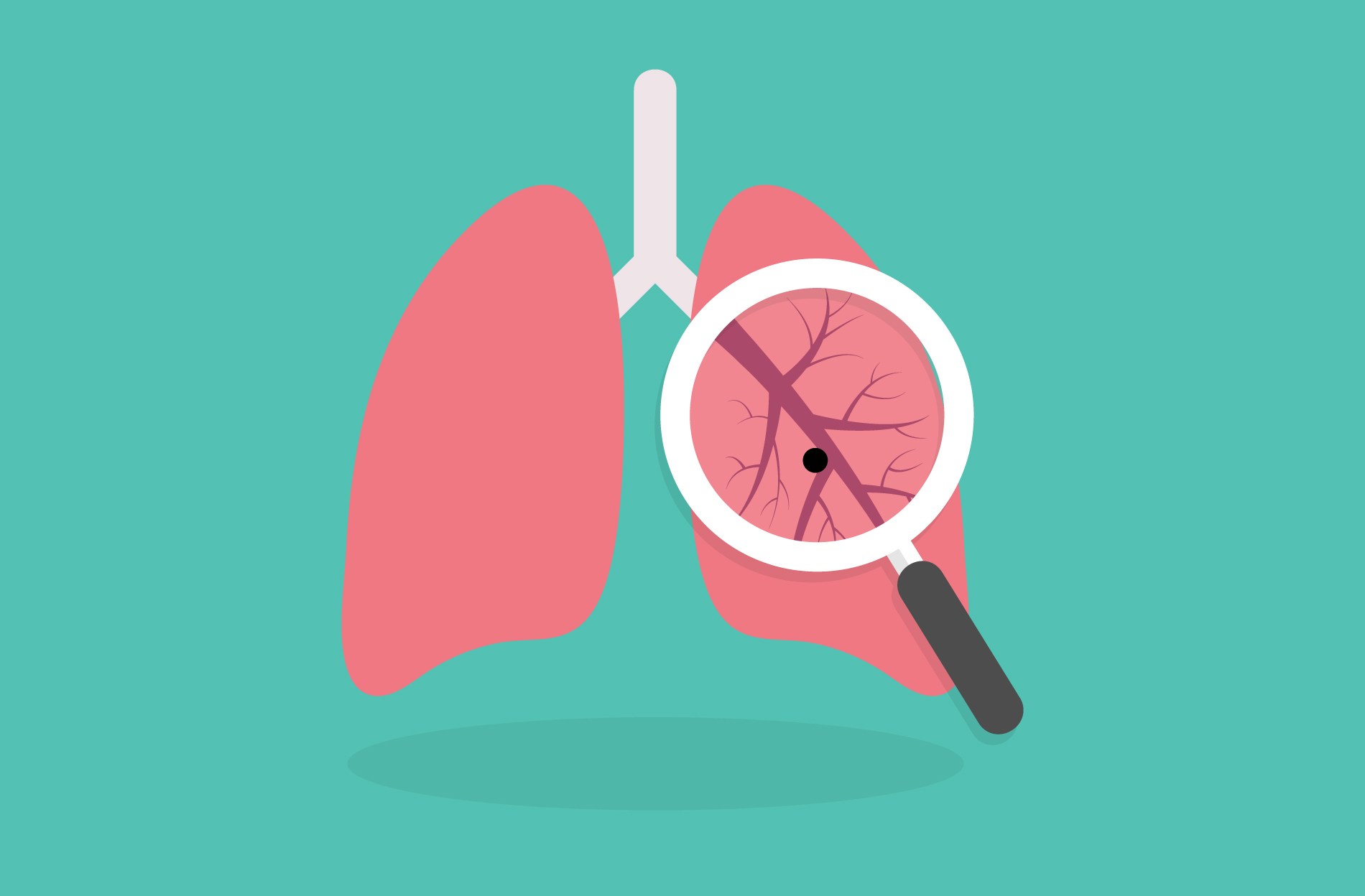 Illustration of magnifying glass looking at lungs