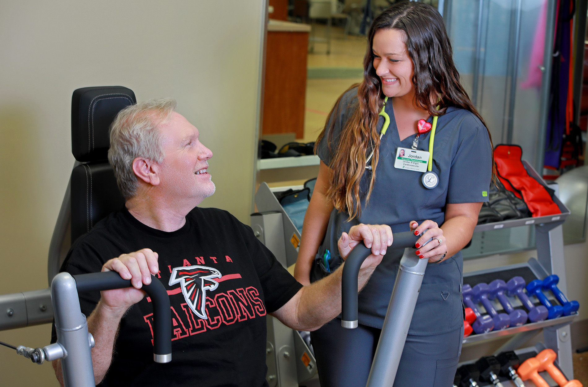 Cardiac Rehab nurse with patient