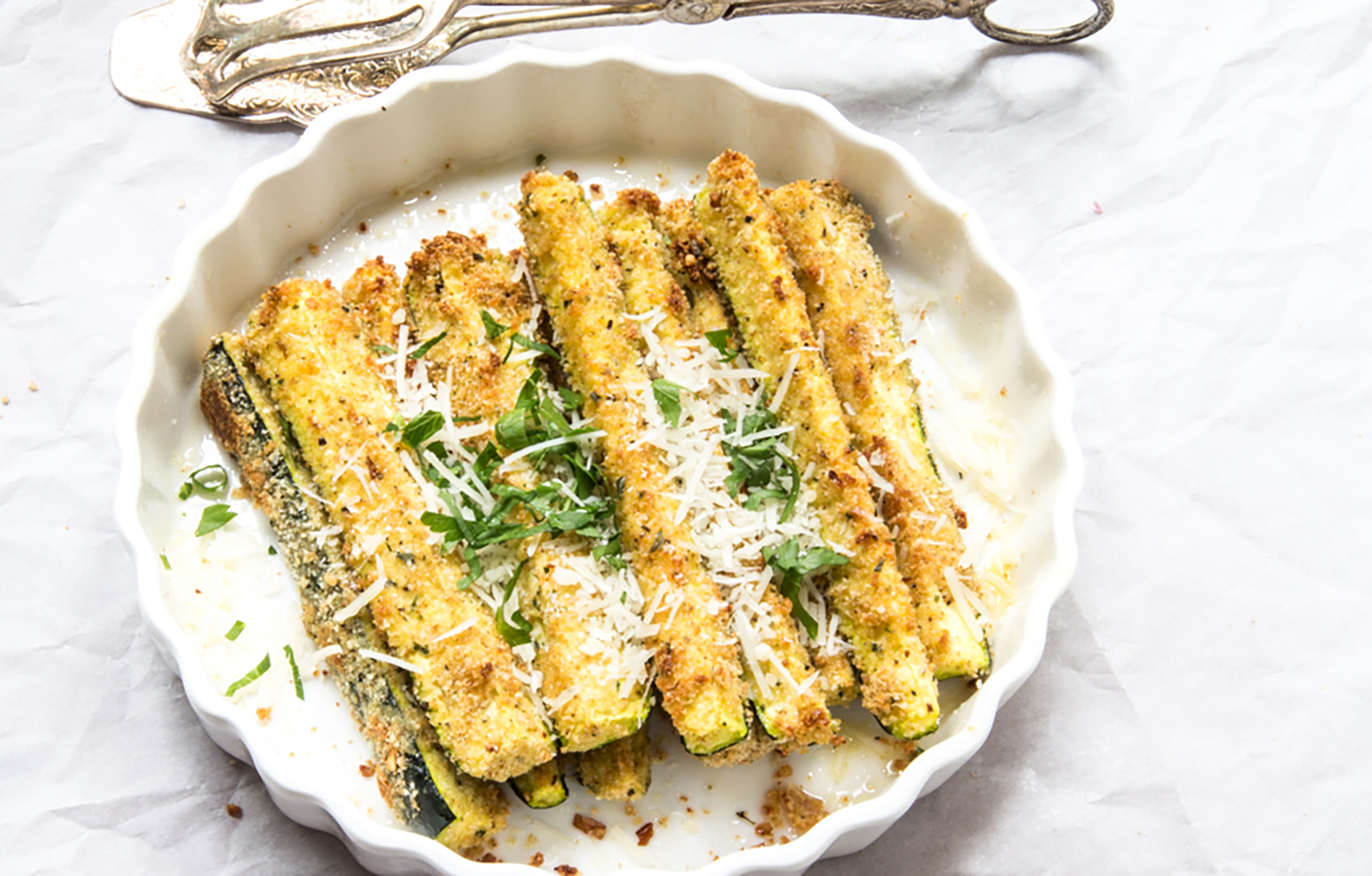 Roasted zucchini with Parmesan cheese