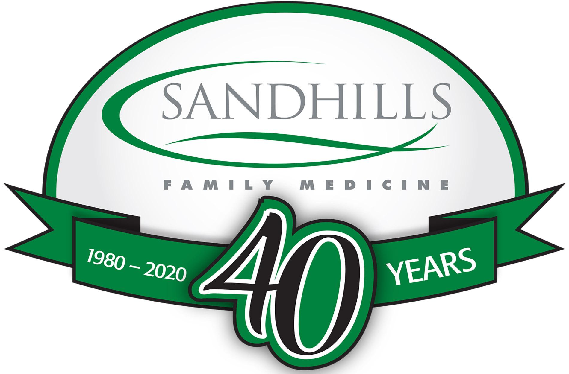 Sandhills Family Medicine 40th anniversary logo