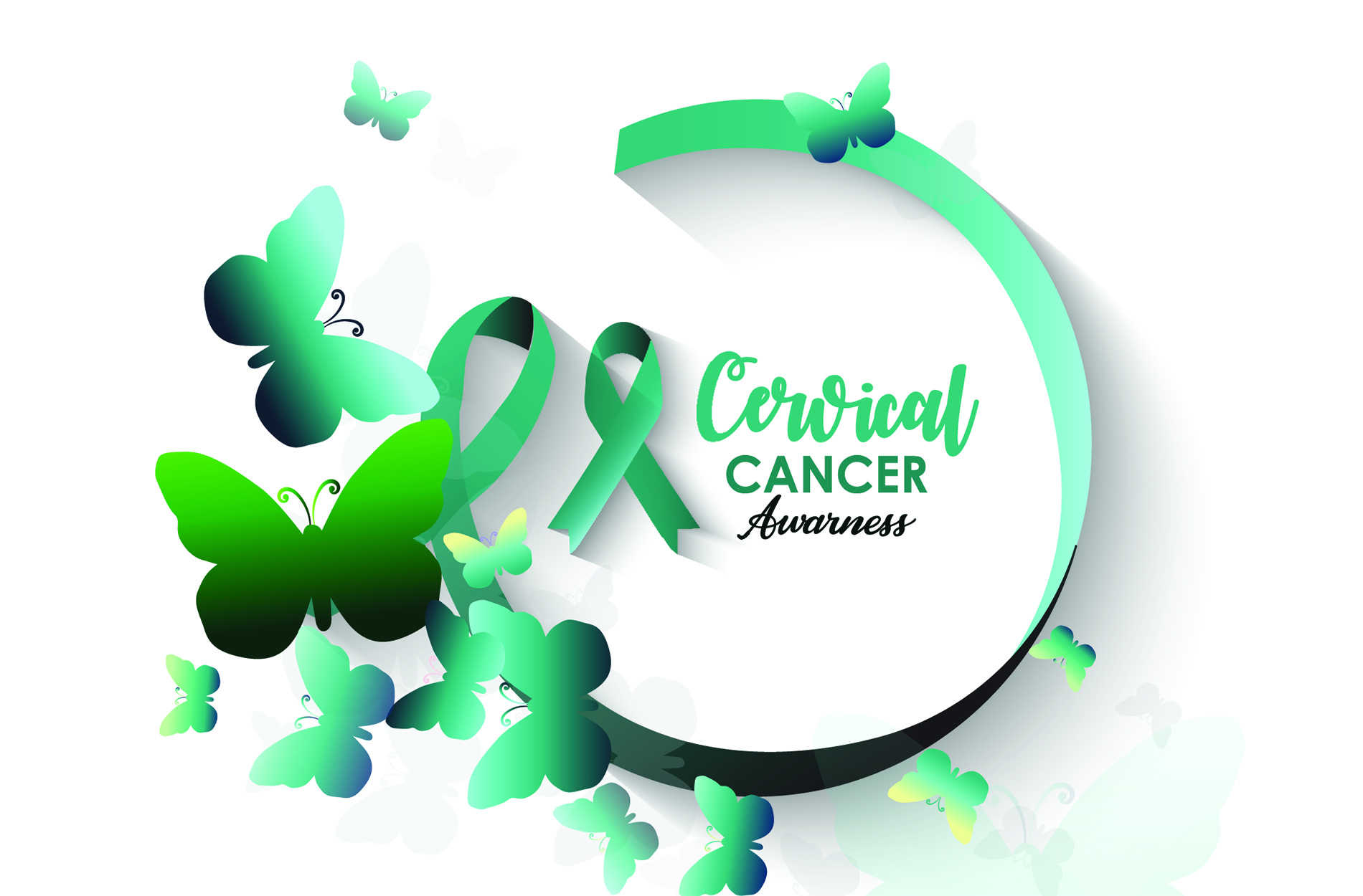 Graphic for Cervical Cancer Awareness with blue butterflies