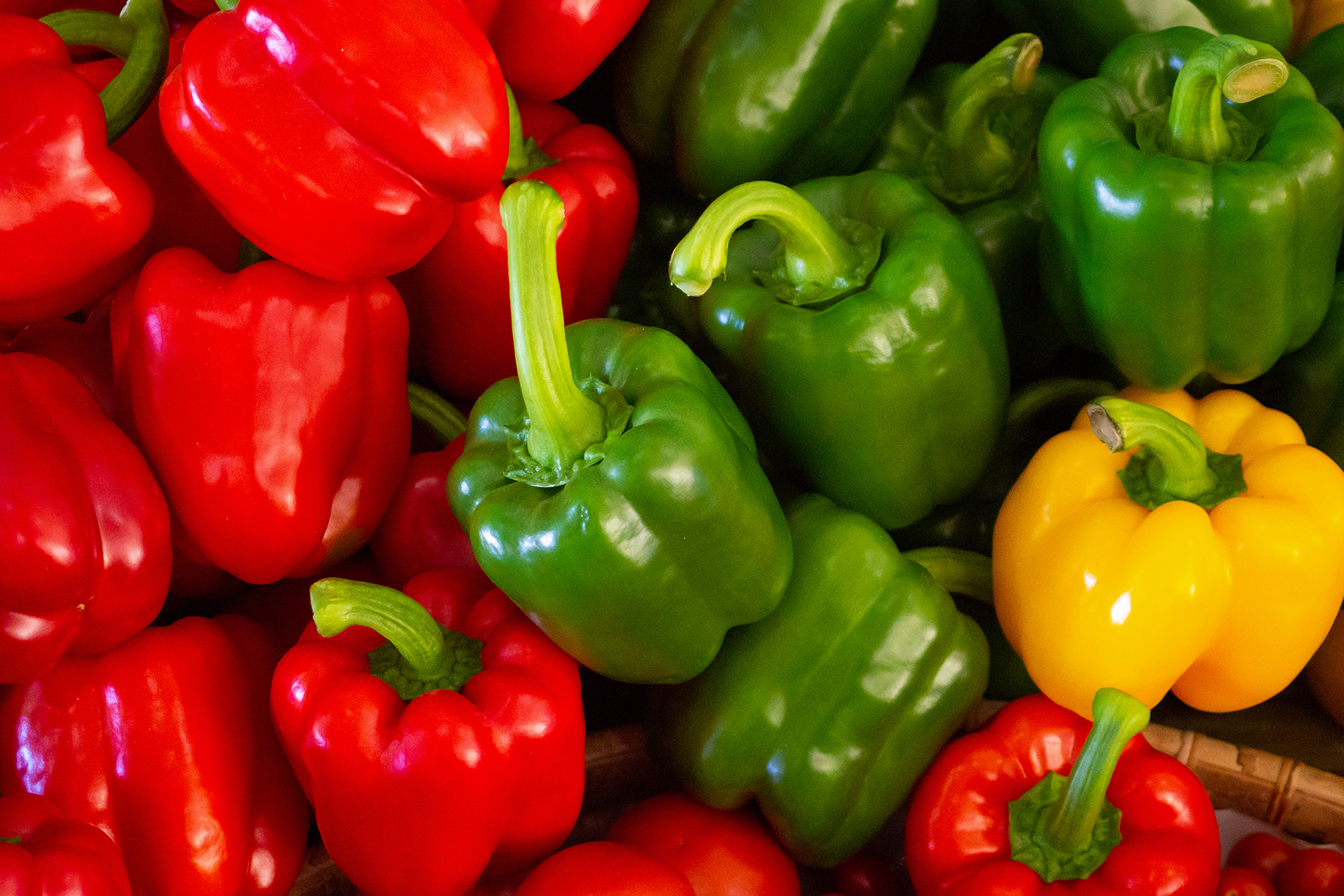 Red, green and yellow bell peppers
