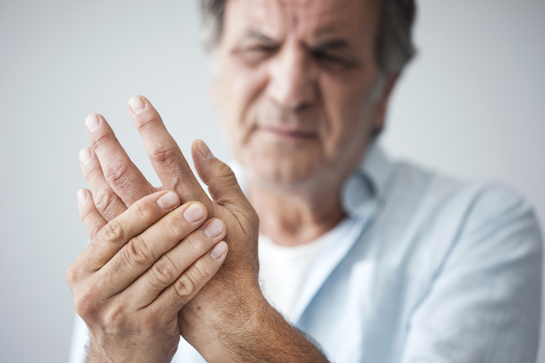 Man with painful hands
